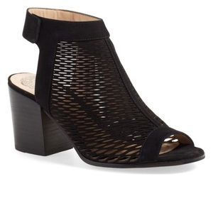 Vince Camuto Perforated Peep Toe Bootie, Black 9